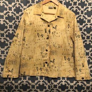 Chico's size 1 pale yellow animal print blazer